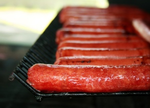 Image of hot dogs on grill